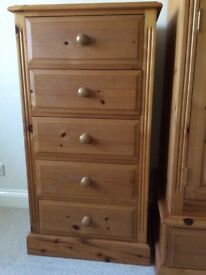 Solid pine 5 drawer tall slim chest
