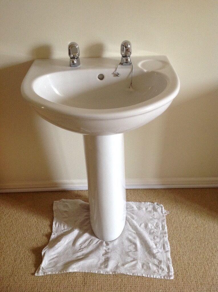 Bathroom Sinks Gumtree white armitage shanks bathroom sink, pedestal and taps | in bury