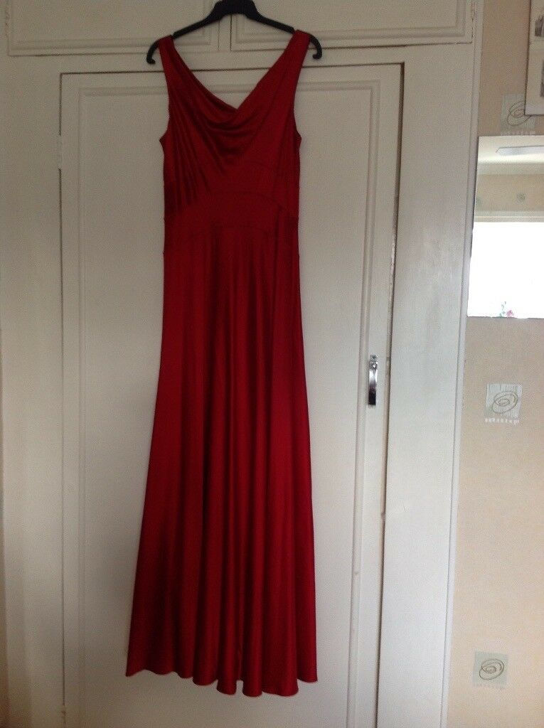 Red Silk Evening Dress By Monsoon Size 16 In Witney Oxfordshire