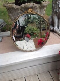 BEAUTIFUL VINTAGE FRENCH ORNATE BRASS FRAMED MIRROR