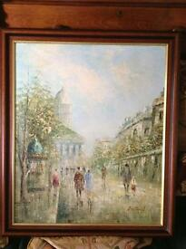 Oil on board painting of a Paris scene £15 the painting is 23 inches wide by 27 inches high