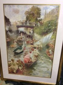 Large Boulters lock in Maidenhead picture with a gilt frame