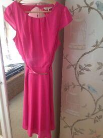 Hot pink tea dress, new. Size 14
