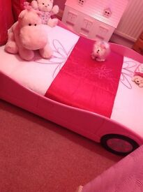 Girls pink car bed with mattress like new £60 07563870358