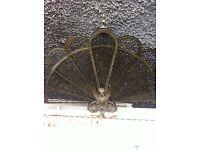 Antique Brass Phoenix/Griffin Fan Fire Screen/Guard.