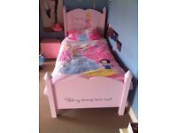 Disney bed with 3-drawer cupboard plus bedding and matching accessories for sale!
