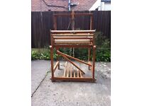 Floor standing four shed weaving loom by Dryad.