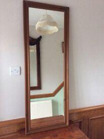 Large Antique Pine Frame Mirror