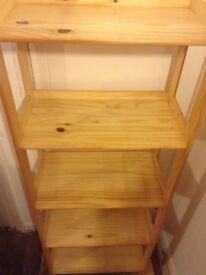 light wood shelving unit