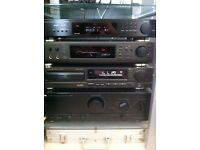SEPARATE SYSTEM - KENWOOD AMPLIFIER, TECHNICS CD PLAYER AND SOUND PROCESSER AND DENON TUNER