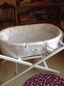 Moses basket with stand. John Lewis. Brand new cost £200.