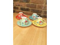 Brand new Set of four CATH KIDSTON tea/Coffee cups and saucers