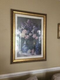 Large Gilt Framed Picture- vases of flowers