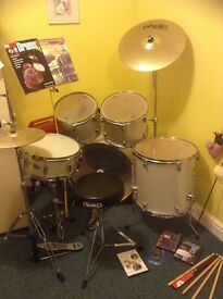 Drum kit by Mapex and accessories