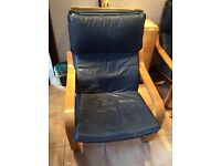 Ikea comfy chair blue leather.