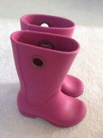 Pink crocs wellies size 10
