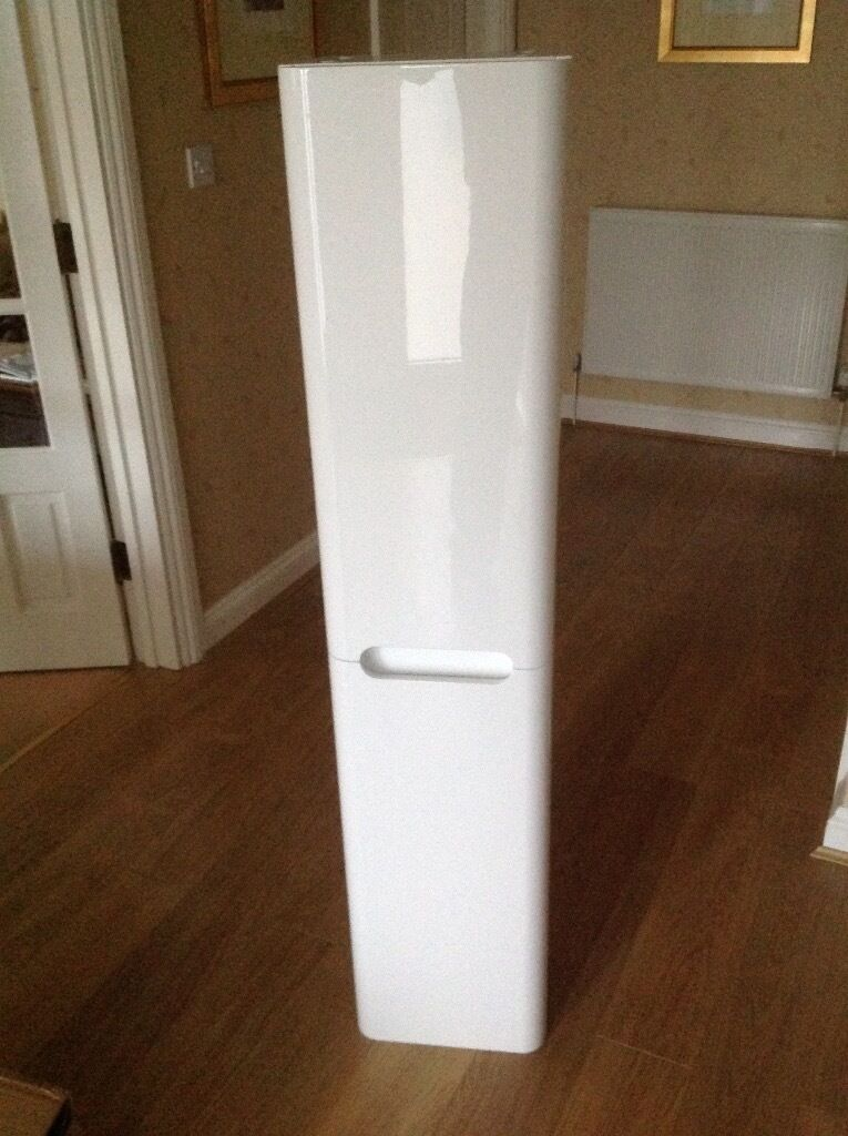 1400mm Tall Bathroom Cabinet White Gloss Finish