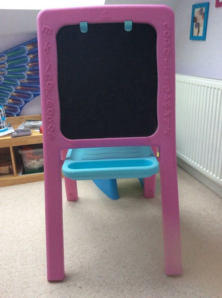 Kids easel/blackboard and plastic desk