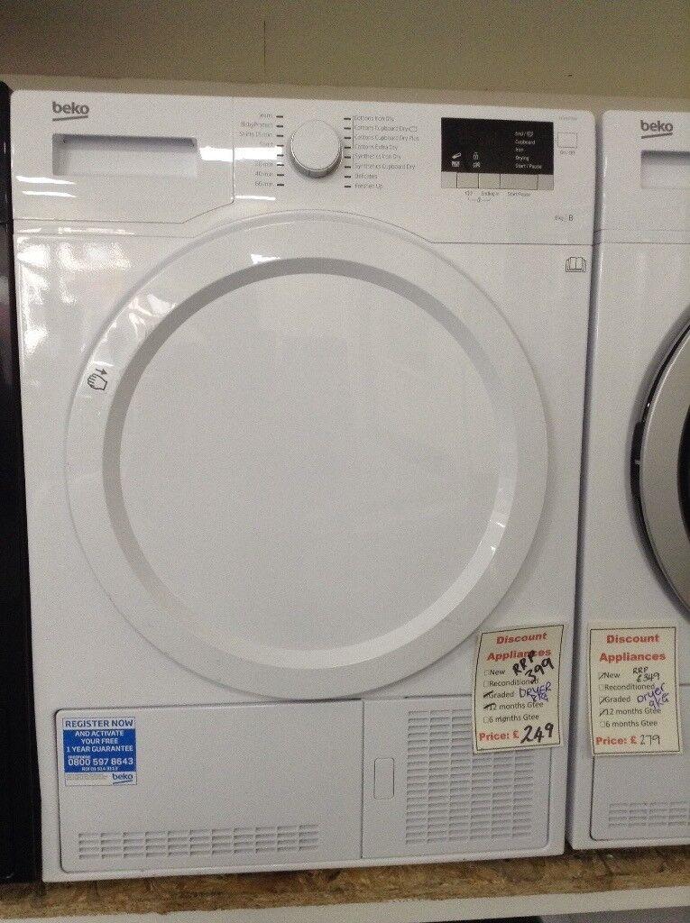 Beko white 8kg condensing dryer. RRP £399 12 month Gtee