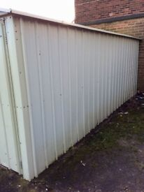 Green galvanised garage