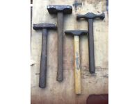 4 off vintage blacksmiths hammers
