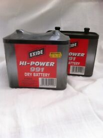 Two 6 volt dry battery batteries
