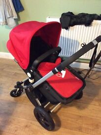 Bugaboo cameleon 3 red all in one pram stroller, plus rain over, changing bag and mat