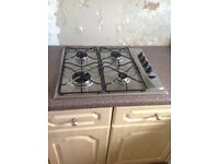 Whirlpool stainless steel and black gas hob