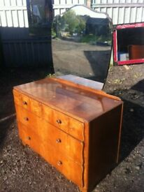 1940s vintage two over two dressing table with mirro