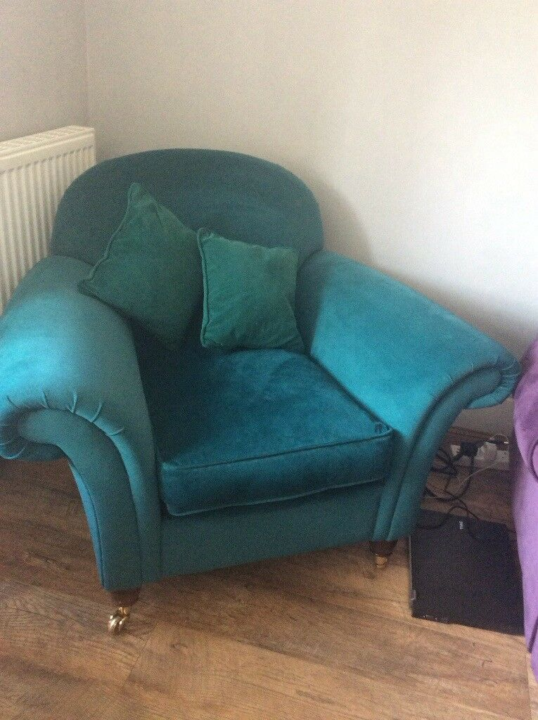 Laura Ashley small armchair teal in colour excellent ...