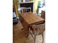Solid wood Folding dining table and 4 chairs