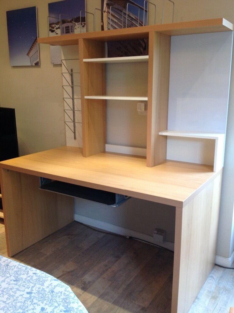 Ikea Desk With Detachable Storage Above 140 Cm Wide X 75cm Deep Excellent Condition