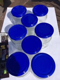 Glass jars with lids, clean,