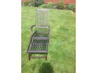 Wooden Sun Lounger with Cushion