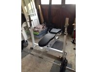 Heavy duty weights bench, weights and barbell