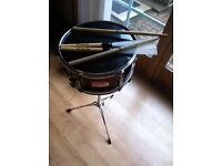"""Percussion Plus Century 12"""" x 6.5"""" Snare Drum Incl. stand and sticks"""