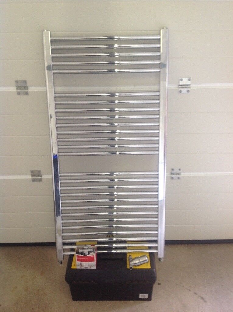 Chrome central heating towel rail