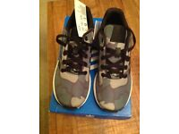 ADIDAS TORSION, ZX FLUX CAMOUFLAGE TRAINERS, SIZE 3