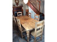 Solid Pine Dining Table w/ 6 Solid Beech Chairs