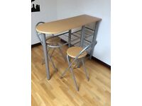 Breakfast Bar / Table & 2 Stools / Chairs With Under Storage Shelves - Excellent Condition