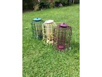 3 Wild Bird Feeders one peanuts two seed used condition