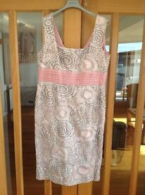 Mother of the bride outfit, pink and silver dress, jacket and matching hat. Size 18 but small 18.
