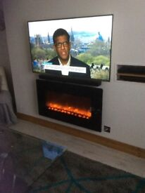 SLEEK BLACK GLASS CELSI ELECTRIFLAME MK 2 WALL HUNG FIRE WITH FAN