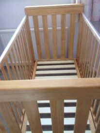 Mamas and Papas Pine baby cot with three adjustable heights