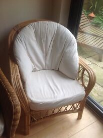 2 X cane chairs, 1x 2 seater settee Cushions included