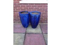 Blue decorative garden pots