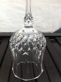 """FRENCH CRYSTAL, 6 """"LONGCHAMPS"""" WINE GLASSES, CRISTAL D'ARQUES"""