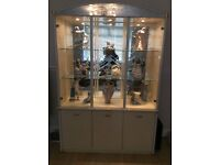 High gloss cream three door display cabinet