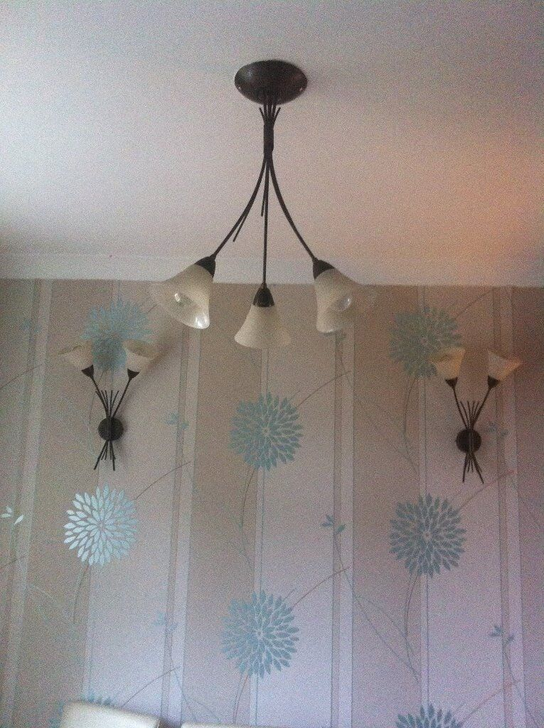 lovely 3 light fitting with 2 matching wall lights
