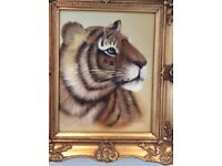 Oil painting by 'Rex' of a tiger